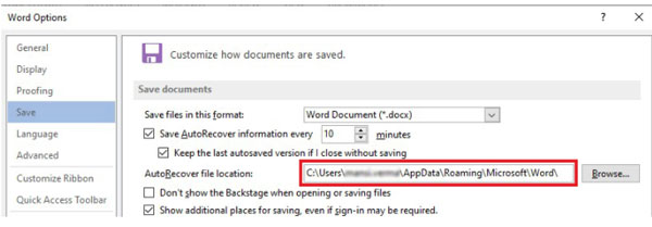 Recover unsaved word document from AutoRecover
